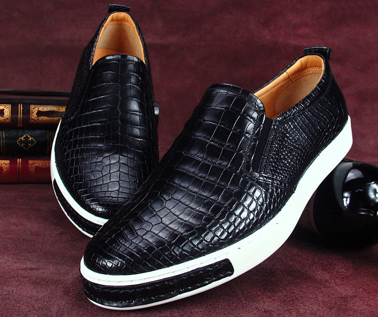Premium Genuine Alligator Skin Casual Slip On Sneaker - Black-Exhibition