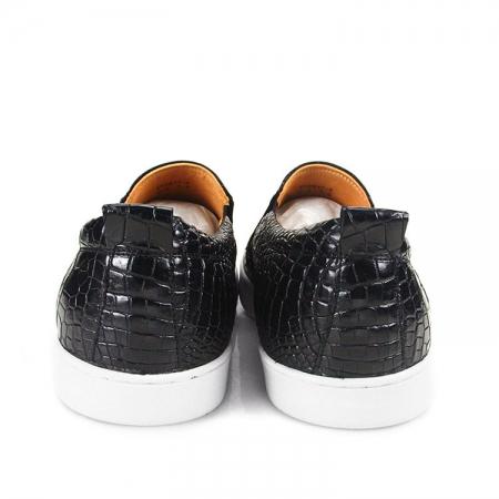 Premium Genuine Alligator Skin Casual Slip On Sneaker - Black-Heel