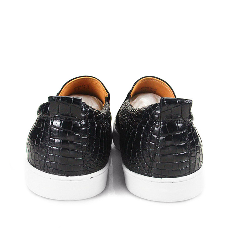 Premium Genuine Alligator Skin Casual Slip On Sneaker - Black-Heel