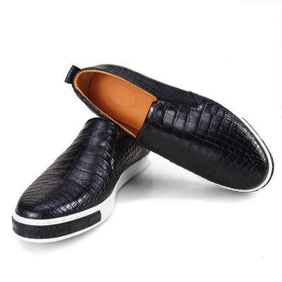 Premium Genuine Alligator Skin Casual Slip On Sneaker - Black-Upper