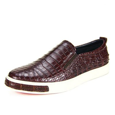 Premium Genuine Alligator Skin Casual Slip On Sneaker - Brown