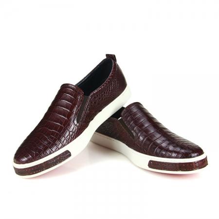 Premium Genuine Alligator Skin Casual Slip On Sneaker - Brown-Exhibition