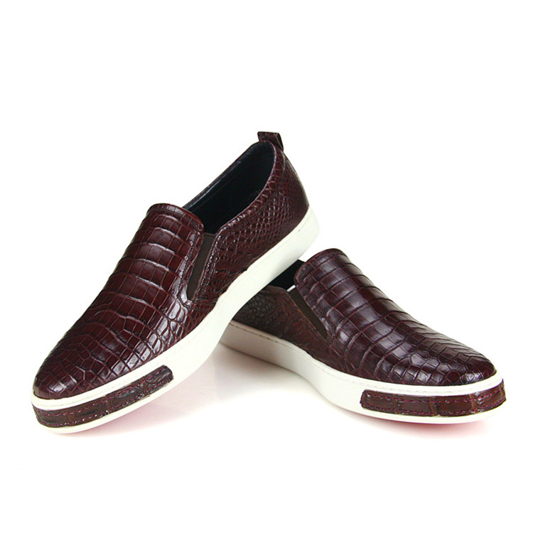 Premium Genuine Alligator Skin Casual Slip On Sneaker - Brown-Exhibition