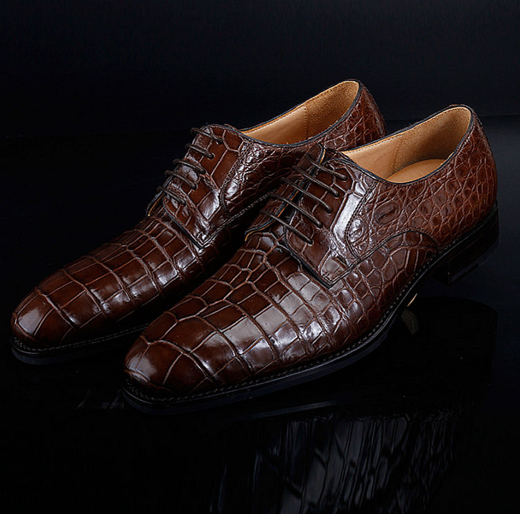 Premium Genuine Alligator Skin Lace Up Dress Shoes-1