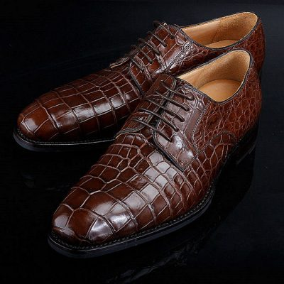 Premium Genuine Alligator Skin Lace Up Dress Shoes-2