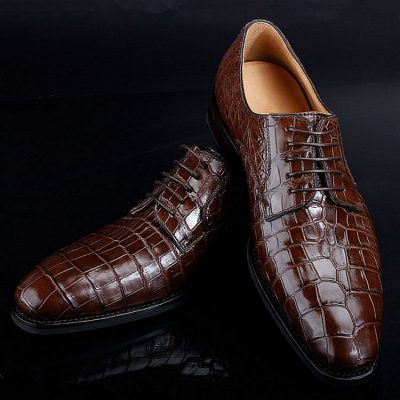 Premium Genuine Alligator Skin Lace Up Dress Shoes