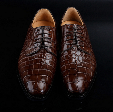 Premium Genuine Alligator Skin Lace Up Dress Shoes-Upper