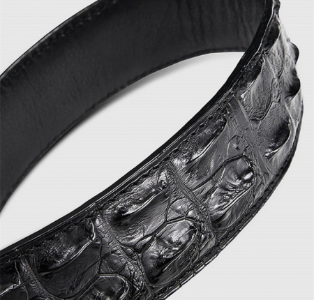 Stylish Genuine Crocodile Skin Belt for Men-Black-1