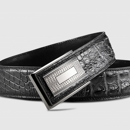 Stylish Genuine Crocodile Skin Belt for Men-Black-Buckle