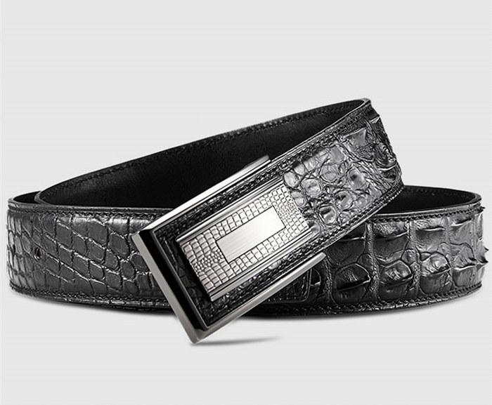 Stylish Genuine Crocodile Skin Belt for Men-Black-Buckle