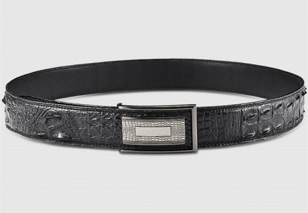 Stylish Genuine Crocodile Skin Belt for Men-Black-Lay
