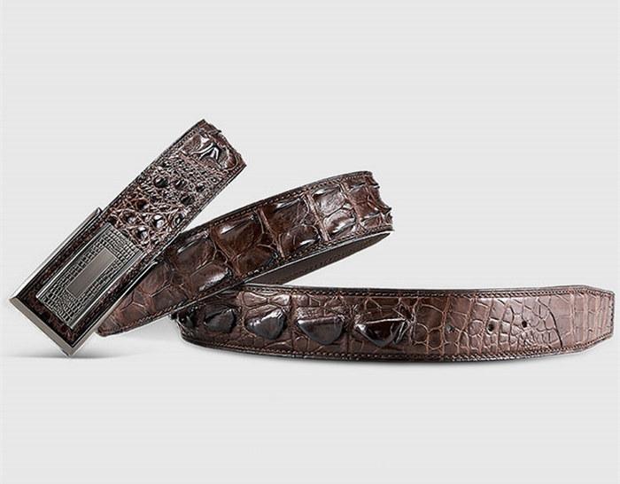Stylish Genuine Crocodile Skin Belt for Men-Brown-1