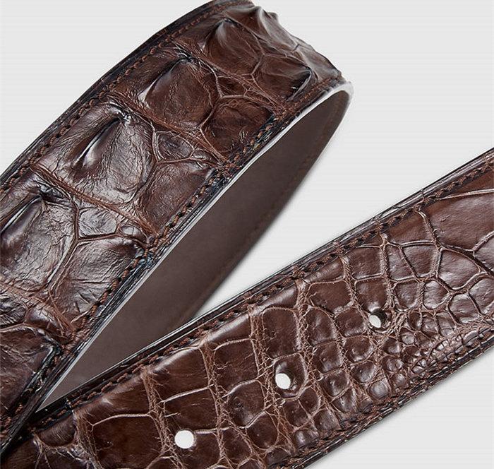Stylish Genuine Crocodile Skin Belt for Men-Brown-2