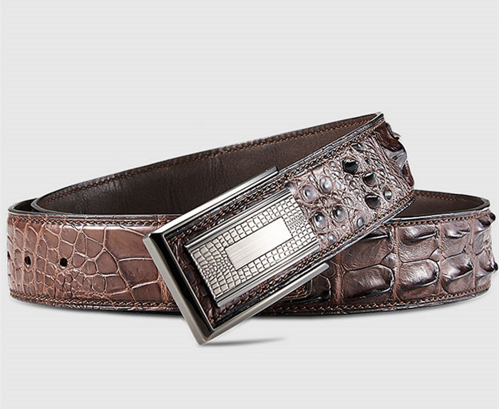 Stylish Genuine Crocodile Skin Belt for Men-Brown-Buckle