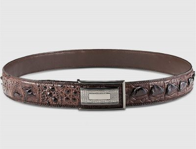 Stylish Genuine Crocodile Skin Belt for Men-Brown-Lay