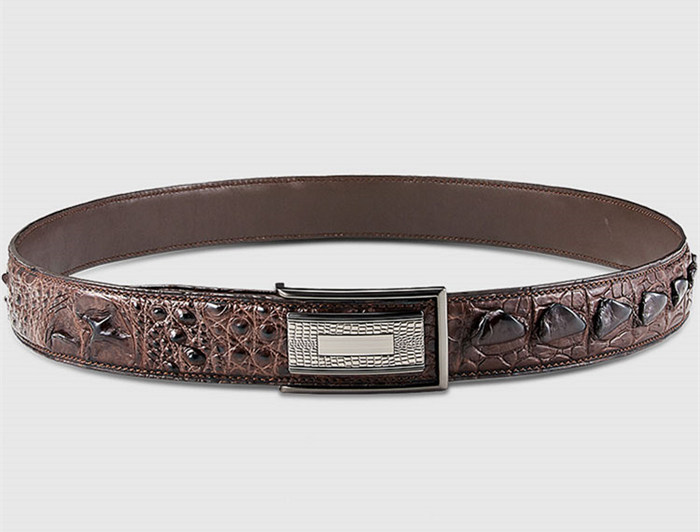 Stylish Genuine Crocodile Skin Belt for Men-Brown-Lay