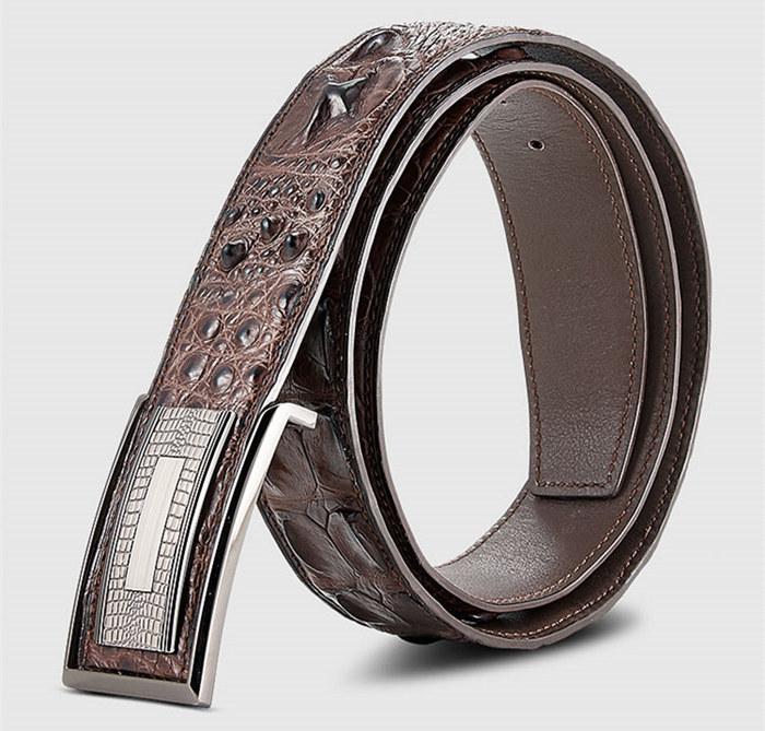 Stylish Genuine Crocodile Skin Belt for Men-Brown