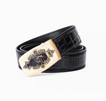 Designer Alligator Skin Dress Belt-Black-1