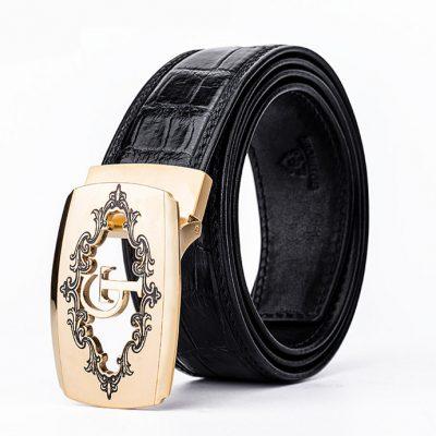 Designer Alligator Skin Dress Belt-Black