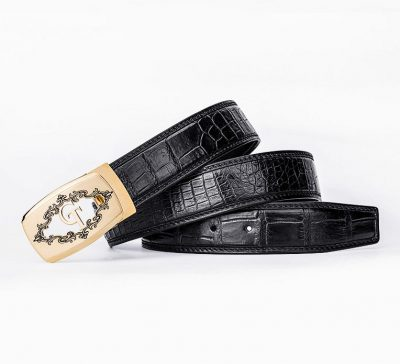 Designer Alligator Skin Dress Belt-Black-Lay
