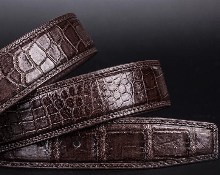Designer Alligator Skin Dress Belt-Detail