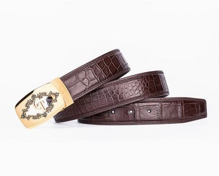 Designer Alligator Skin Dress Belt-Lay