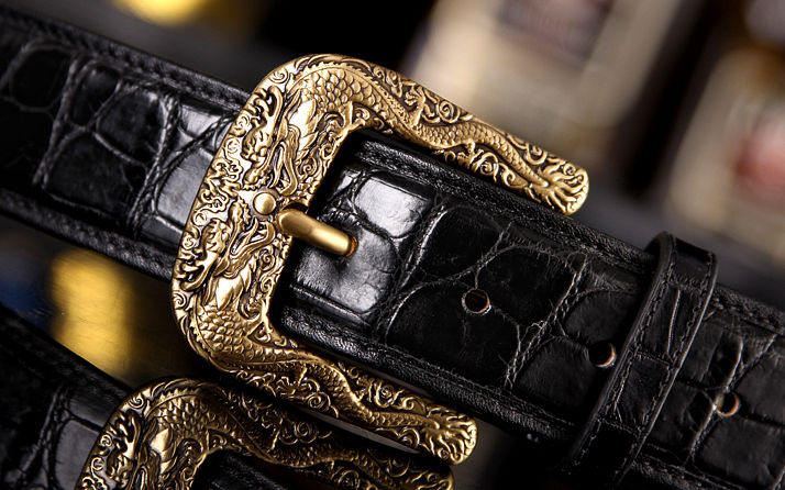 Dragon Pattern Buckle Crocodile Backbone Skin Belt, Eastern Belt for Men-Buckle-1