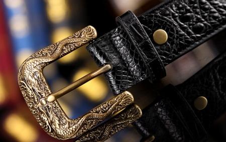 Dragon Pattern Buckle Crocodile Backbone Skin Belt, Eastern Belt for Men-Buckle