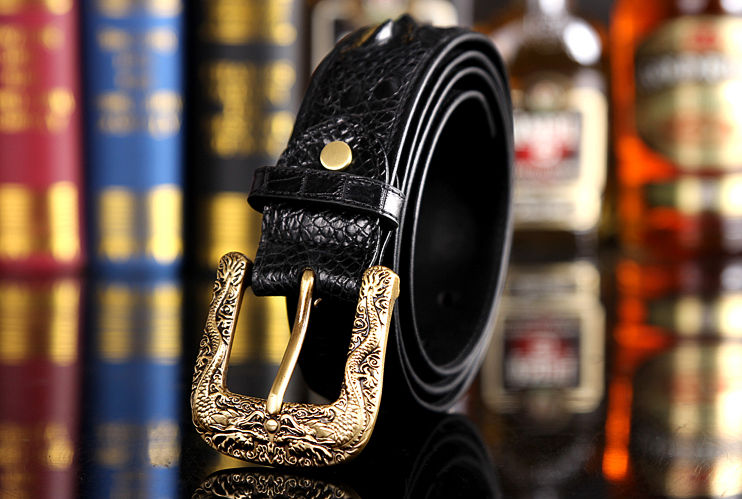 Dragon Pattern Buckle Crocodile Backbone Skin Belt, Eastern Belt for Men-Exhibition