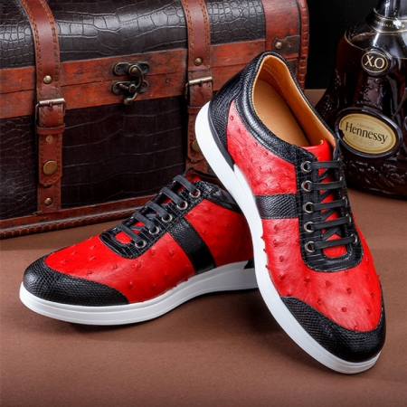 Fashion Genuine Ostrich Skin Lace-up Sneaker