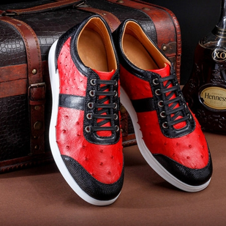 Fashion Genuine Ostrich Skin Lace-up Sneaker-Exhibition