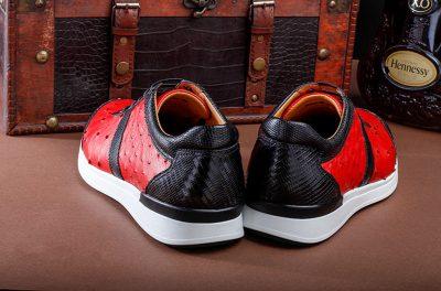 Fashion Genuine Ostrich Skin Lace-up Sneaker-Heel