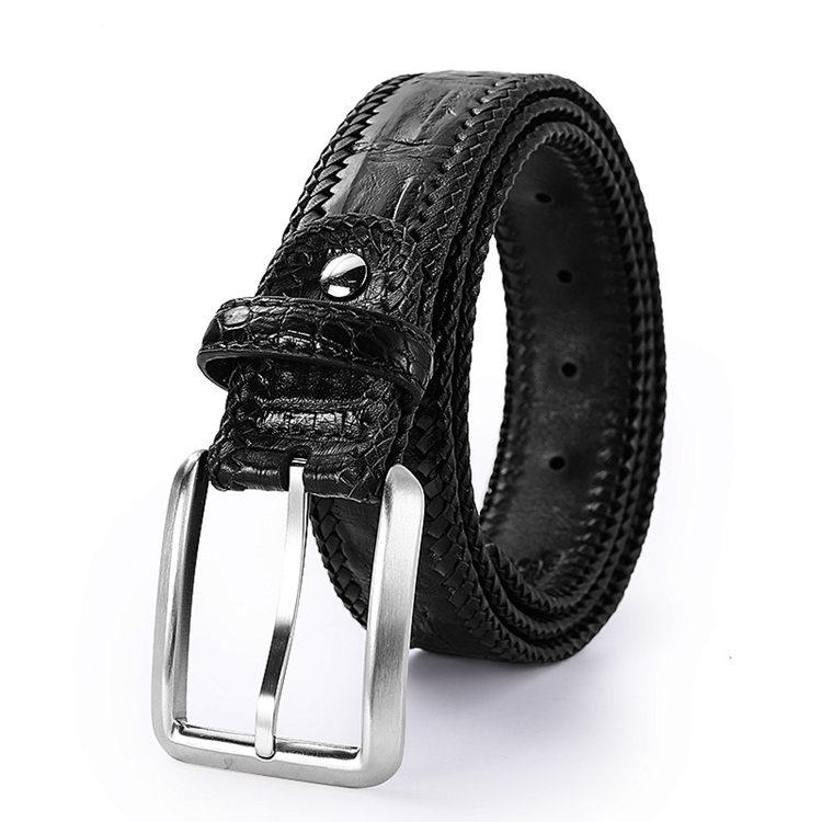 Stylish Genuine Alligator Belt Handmade Alligator Belt for Men-Black