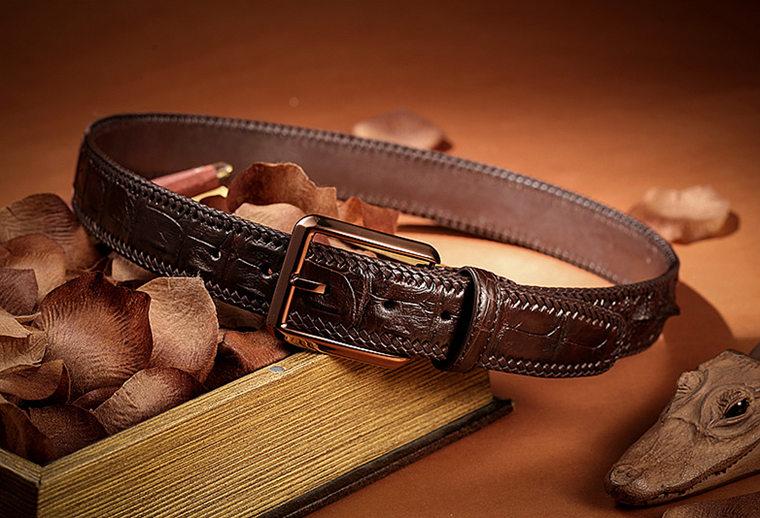 Stylish Genuine Alligator Belt Handmade Alligator Belt for Men-Lay