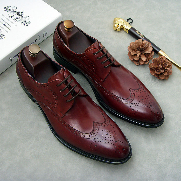 Wine Red Leather Oxford Shoes