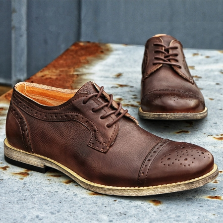 Handmade Leather Oxford Lace up Shoes-Brown-1