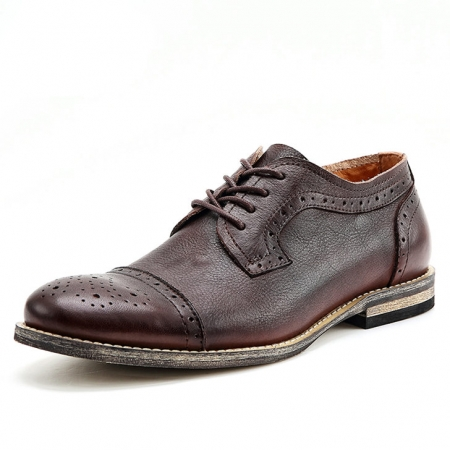 Handmade Leather Oxford Lace up Shoes-Brown