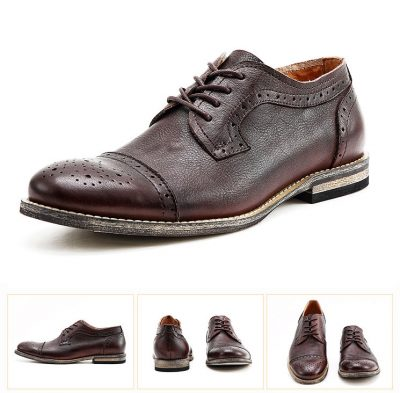 Handmade Leather Oxford Lace up Shoes-Brown-Details