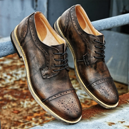 Handmade Leather Oxford Lace up Shoes-Tan-1