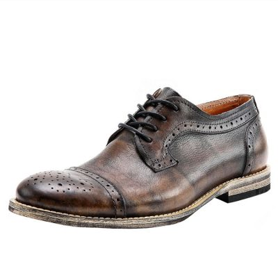 Handmade Leather Oxford Lace up Shoes-Tan