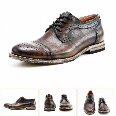 Handmade Leather Oxford Lace up Shoes-Tan-Details