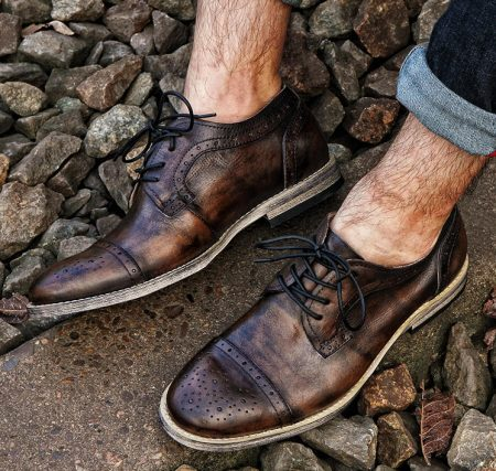 Handmade Leather Oxford Lace up Shoes-Tan-Display