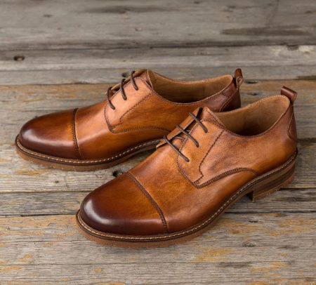 Men's Leather Oxford Dress Shoes Formal Lace up Shoes-Brown