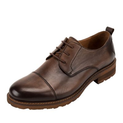 Men's Leather Oxford Dress Shoes Formal Lace up Shoes-Coffee