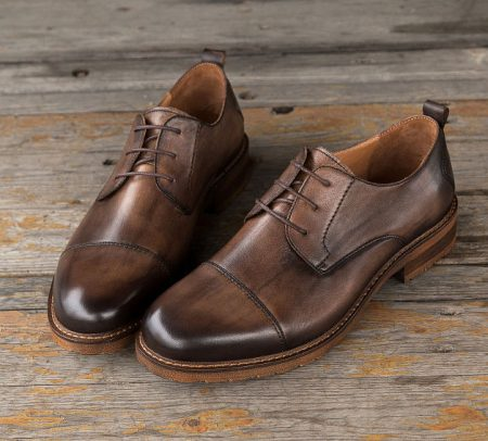 Men's Leather Oxford Dress Shoes Formal Lace up Shoes-Coffee-Display