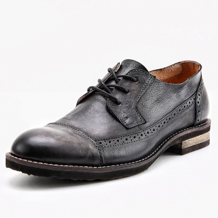 Vintage Leather Oxford Lace up Shoes-Black