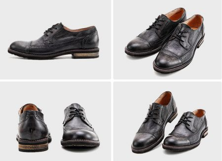 Vintage Leather Oxford Lace up Shoes-Black-Display