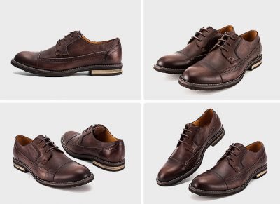 Vintage Leather Oxford Lace up Shoes-Brown-Display