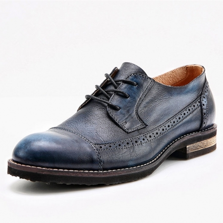 Vintage Leather Oxford Lace up Shoes-Navy Blue