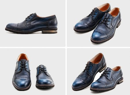 Vintage Leather Oxford Lace up Shoes-Navy Blue-Display